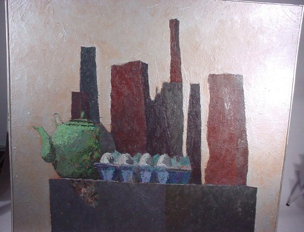 """1005: """"Reginald Case"""" oil painting on canvas dated """"196"""