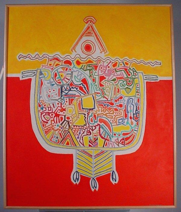 """1010: """"Oscar Melendez"""" silk thread embroidery on painte"""