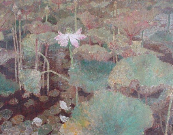 """1012: """"Munakata"""" oil painting, lotus / water lily"""