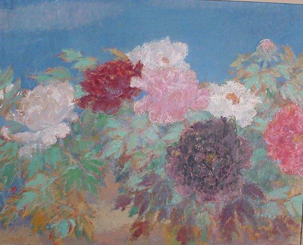 "1013: ""Munakata"" oil painting on canvas, peonies"