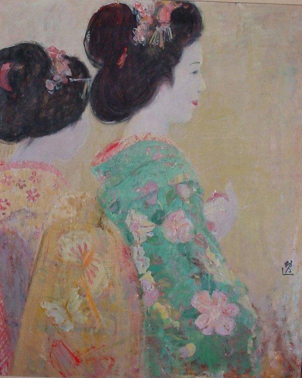 "1014: ""Munakata"" oil painting on canvas, geisha"