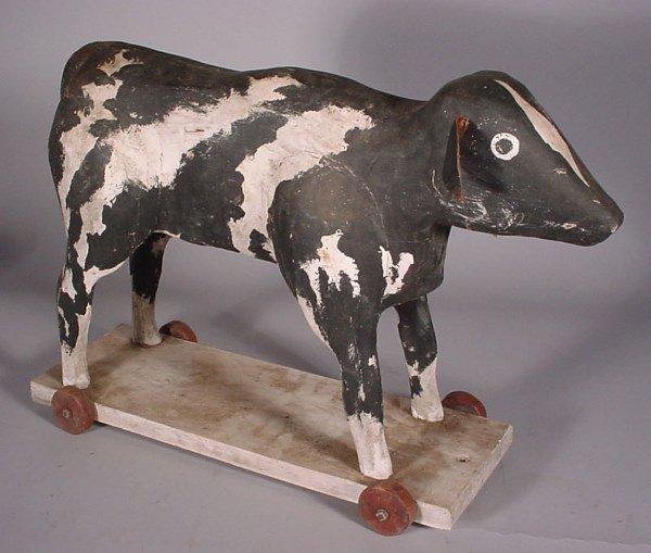 "1019: ""V Barbera"" 20th c. carved wood sculpture, cow"