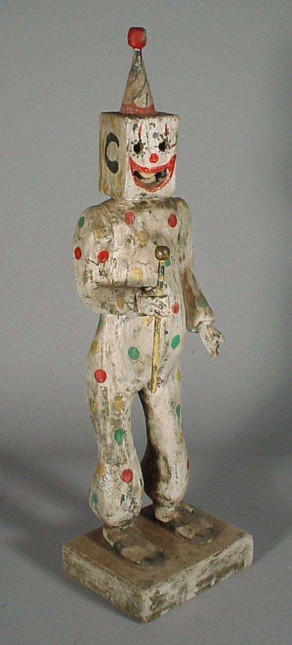 "1021: ""V Barbera"" 20th c. carved wood sculpture, clown"