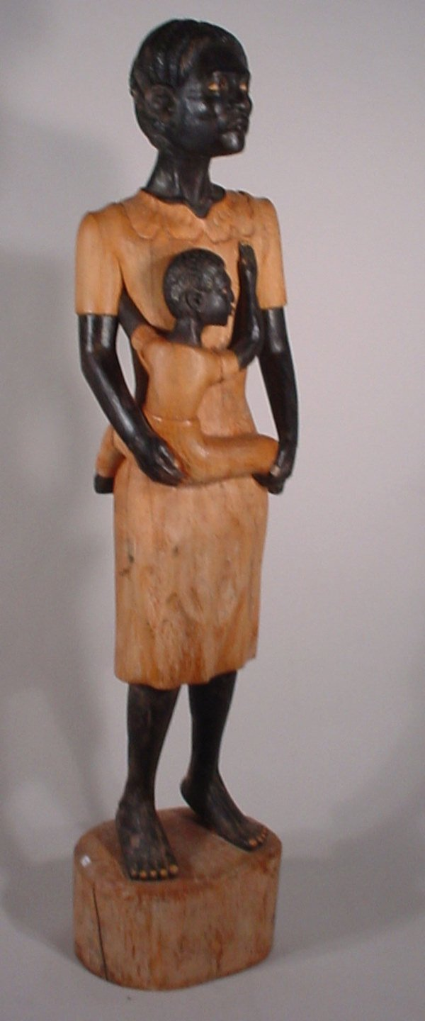 1061: Life sized folk art carved and painted wood figur