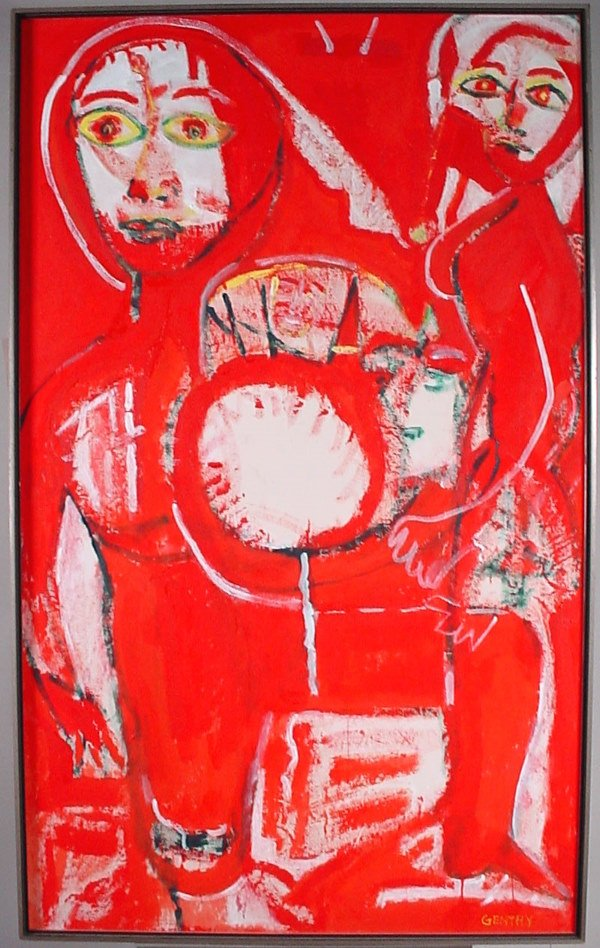 """1006A: """"Gentry"""" acrylic on canvas painting. 57"""" h x 35"""""""