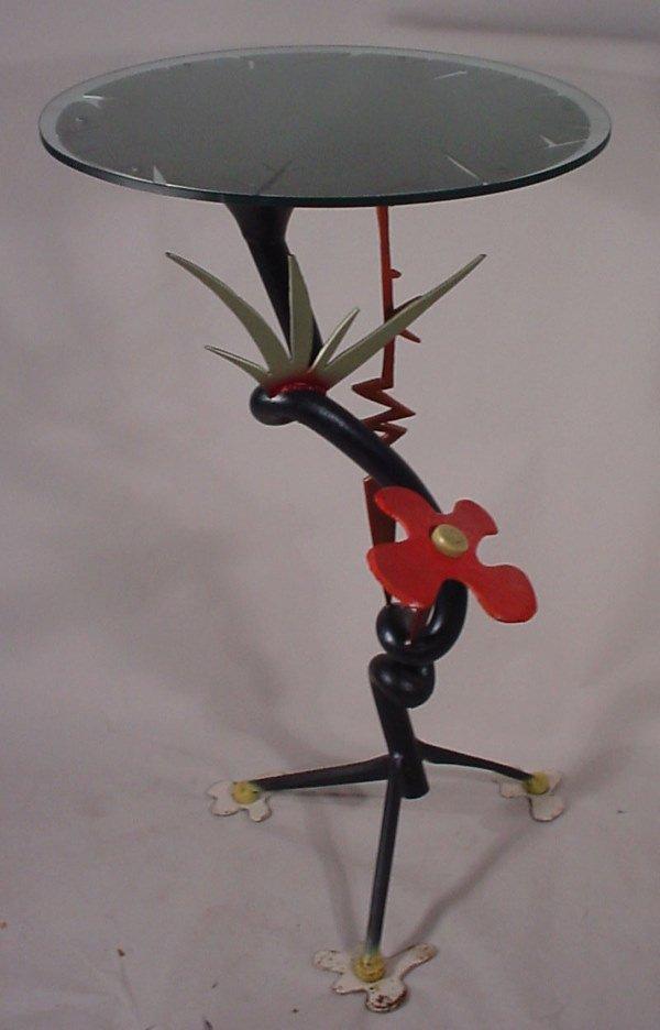 "1015A: ""Knoblauch 92"" art metal sculptural table. 51"" h"
