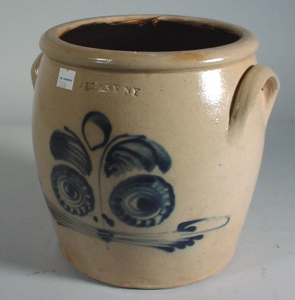 2004: Stoneware ovoid crock with blue face decoration,