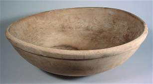 2102 Large antique wooden mixing bowl well used 6 x