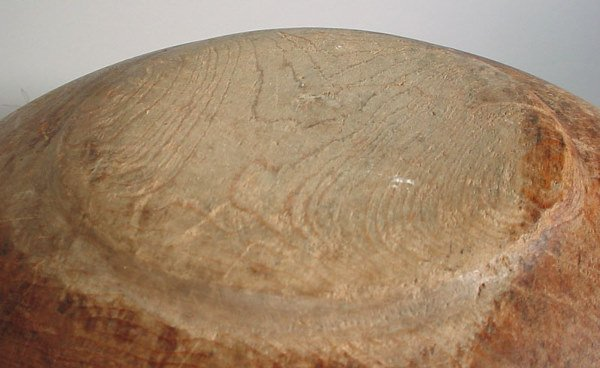 2105: Large antique wooden mixing bowl. Well worn. - 4