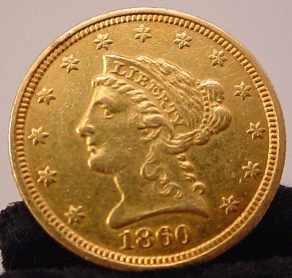 358: 1860c $2 1/2 U.S. Gold Liberty. AU RARE