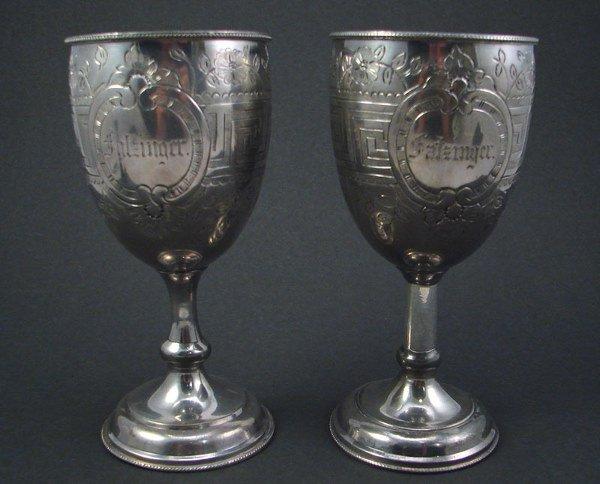 2001: Pair Goblets. Silverplate. Incised Greek Key desi