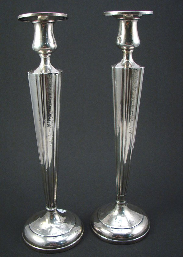 """2002: Pair Sterling Candlesticks with bobeche. """"S"""" inci"""