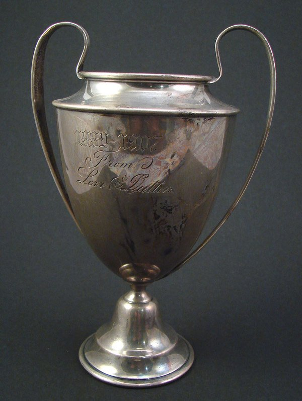 """2006: Two handled Sterling """"Wedding Cup"""" with engraving"""