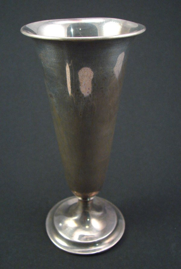 """2007: Sterling Trumpet Vase with bent base. Engraved """"C"""