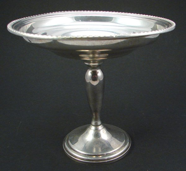 """2018: Sterling weighted Pedestal Dish. 6""""h x 6 1/2""""diam"""