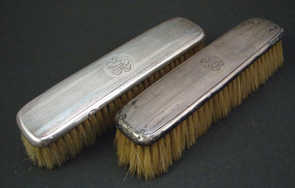 "2020: Pair Sterling Dresser Brushes. Monogrammed. 6""l x"