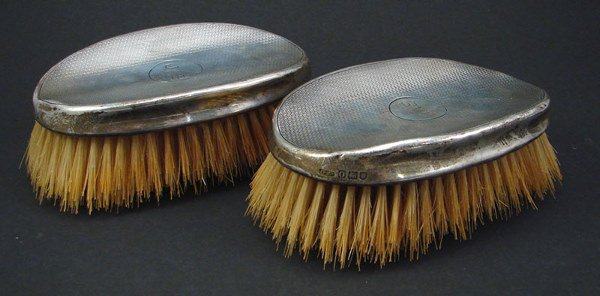 """2022: Pair Sterling Brushes. Monogrammed. 2""""h x 5 1/2"""""""