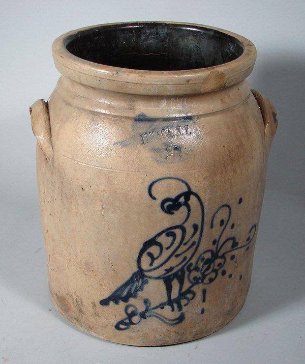 2158: Ithaca, N.Y. 3 gal Stoneware Crock with cobalt bl