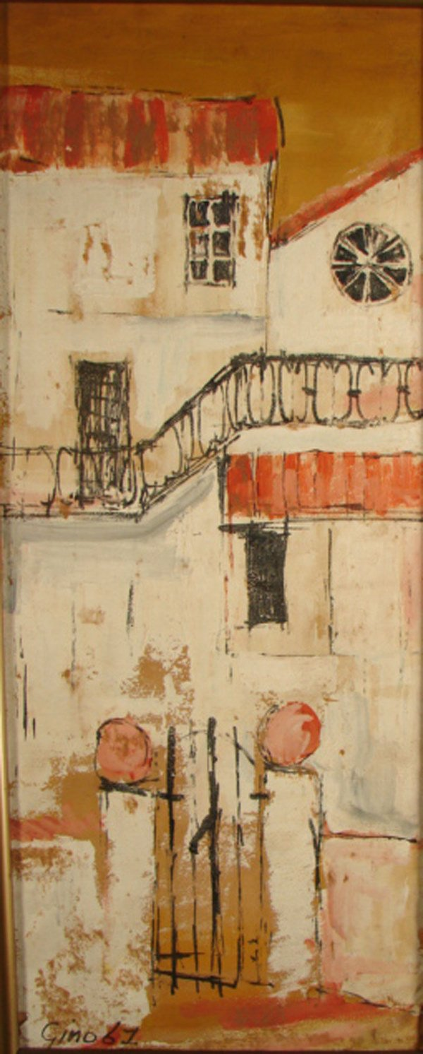 """3: """"Gino"""" signed painting on paper on board. Dated """"61"""""""