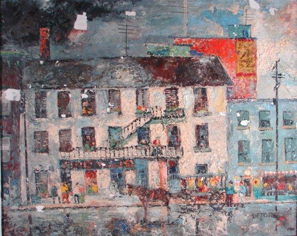 """4: """"Detore"""" signed wax painting on board. Cityscape wit"""