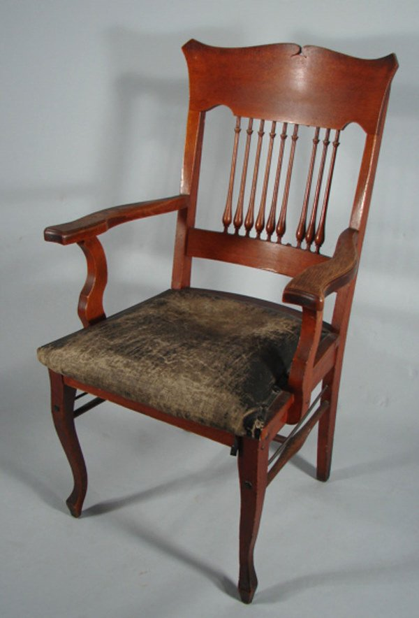 6: Oak Arm Chair. Missing spindle. Leather seat worn wh