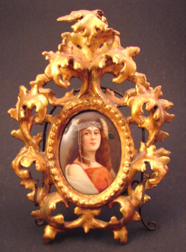 """9: """"Wagner"""" signed painting on porcelain, portrait of a"""