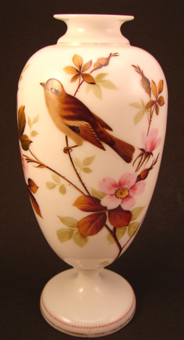 13: Hand painted milk glass vase with enamel dot and gi
