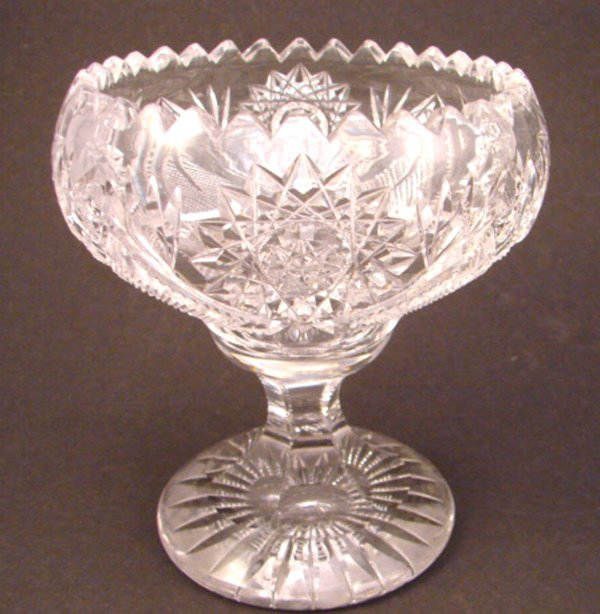 "17: Cut crystal pedestal bowl. 5 1/4"" x 4 1/2"" diameter"
