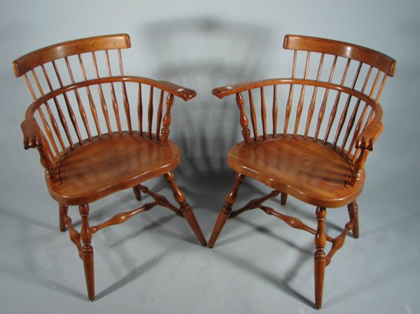"""20: Pair Stickley Signed Windsor Arm Chairs. 33""""h x 26"""