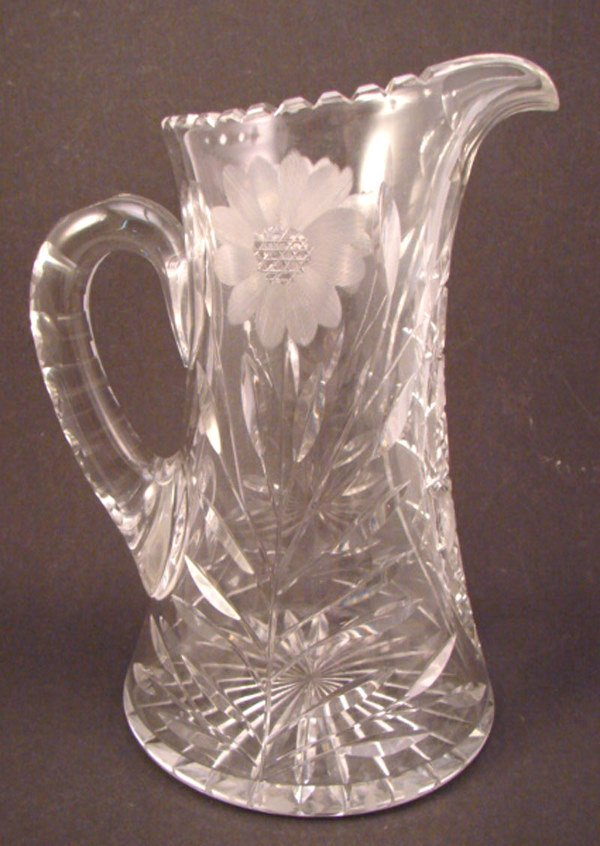 """21: Cut and Leaded Glass Pitcher. 10 1/4""""h. Some scratc"""