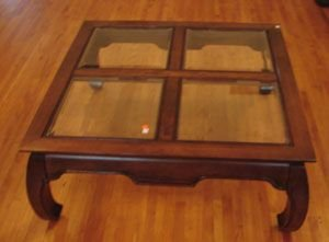 314: Coffee Table with beveled glass tiles