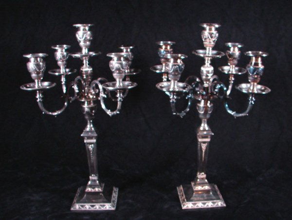 1001: Pair of Edwardian style silver plate Candelabrums