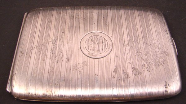 1004: Kerr Sterling Silver Cigarette Case with monogram