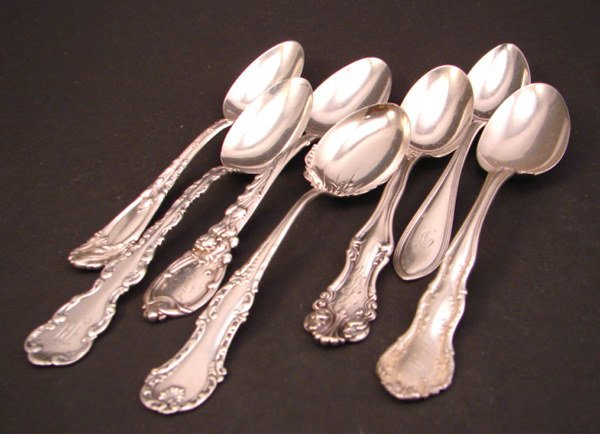 1007: Seven Sterling Spoons. Various makers and pattern