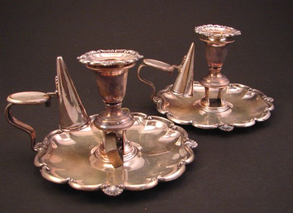 1011: Pair of Silver Plate Finger Candle Holders with c