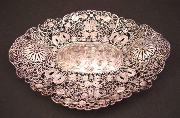 1012: Filigree Scenic Tray with butterfly, dragonfly, c