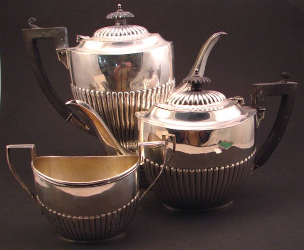 1016: Birks Three piece Sterling Silver Tea Set with eb