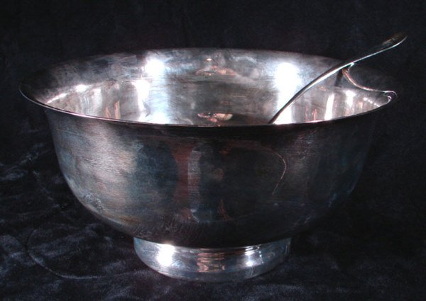 1022: Wallace Silver Plate Punch Bowl with Ladle. Unusu