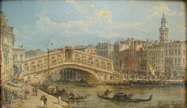 1124: 19th c. Signed oil painting on wood panel, Venice