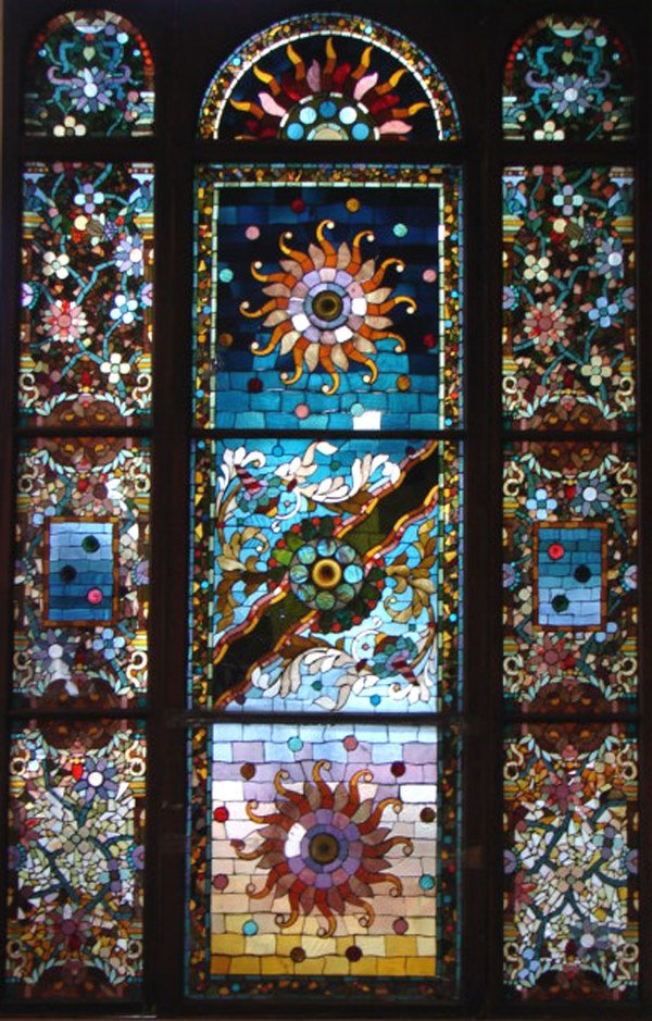1200: Belcher Mosaic Stained Glass Window. American Aes