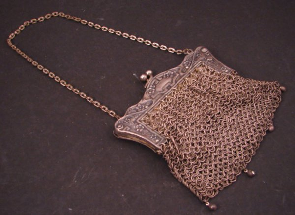 """1: Silver Mesh Bag / Purse. Marked inside """"Ger. Silver"""""""