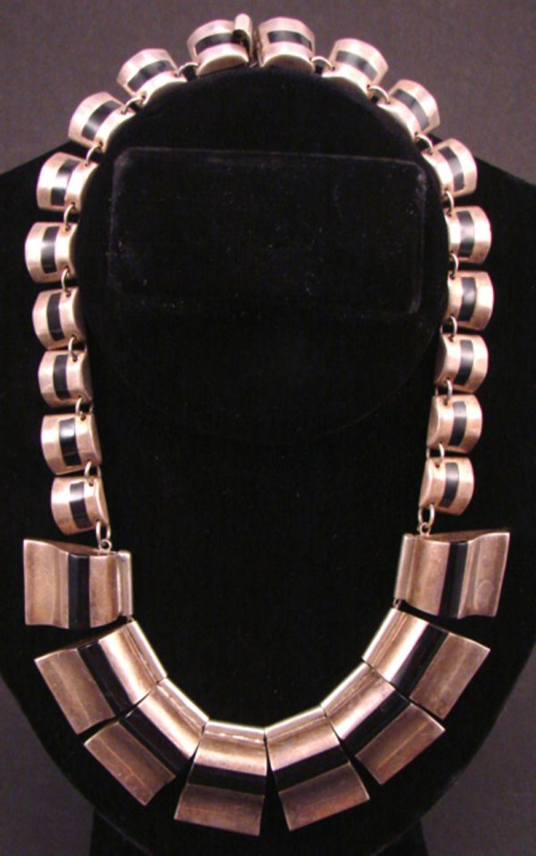 2: Taxco Signed Sterling Art Deco Necklace. Needs clean