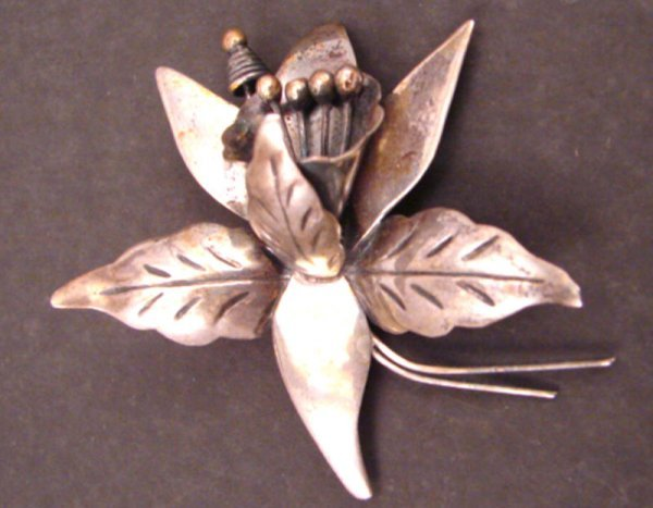 """9: Taxco Sterling Floral Pin. Marked """"Taxco HE 925 DS""""."""