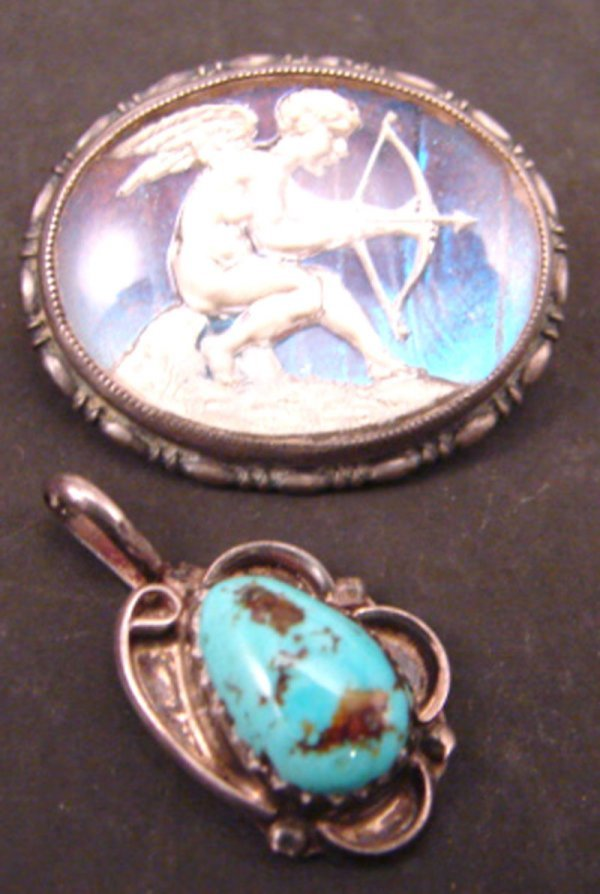 10: Two pieces Sterling Pin & Pendant. Including Englis