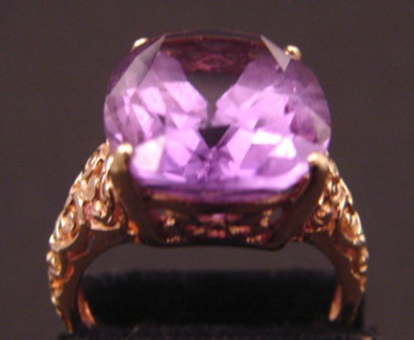 """14: Amethyst 14k Filigree Ring. Marked """"14k"""" and """"PDM""""."""