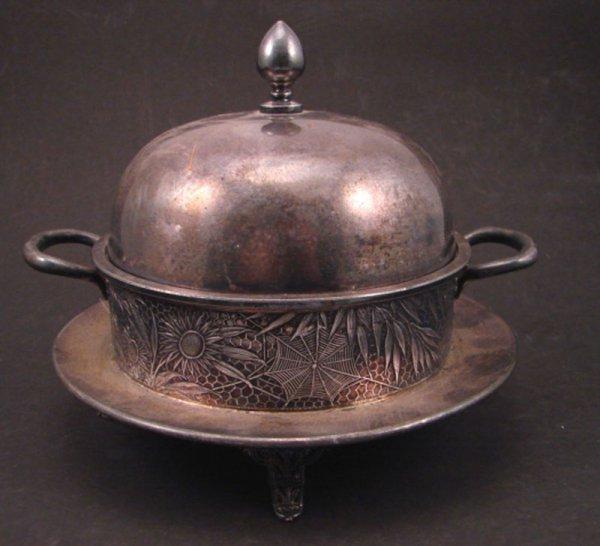88: Meriden Victorian Silver Plate Butter Dish / Server