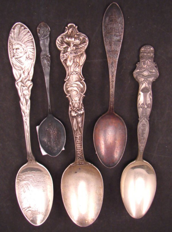 2002: Five Sterling Silver Souvenir Spoons. Including W