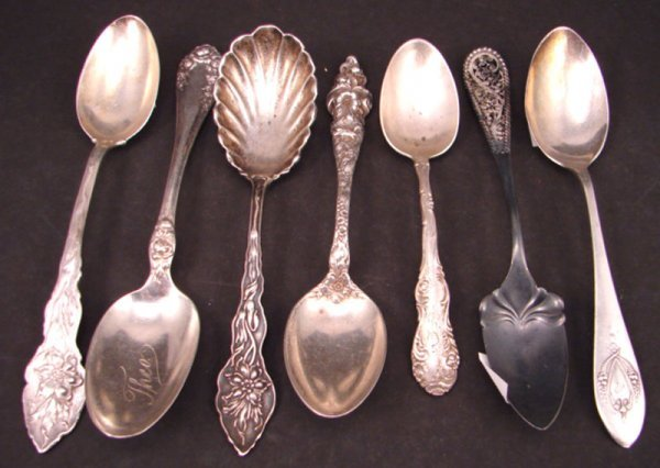 2004: Seven Sterling Silver Spoons. Various makers and