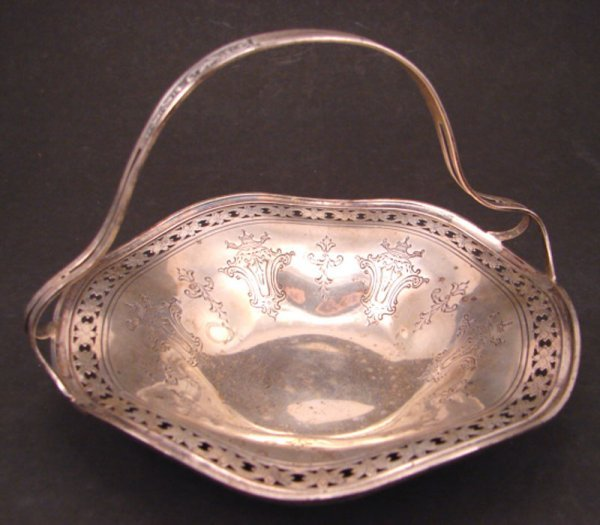 """2009: Sterling Silver Basket with hallmark. Marked """"Pat"""