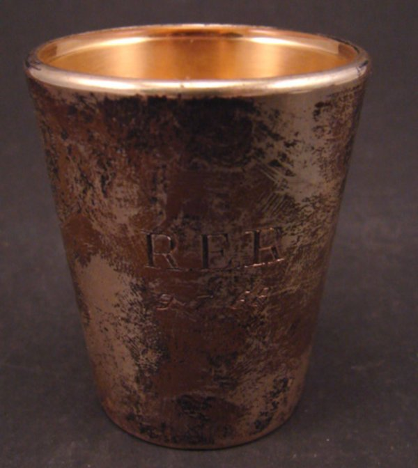 2012: Reed & Barton Sterling Shot Glass. Silver over gl